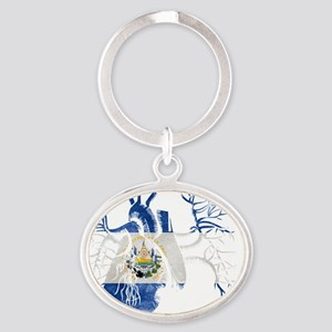 El Salvador Flag in Real heart Oval Keychain